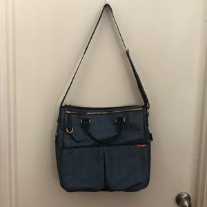 Blue/gray pattern SkipHop unisex diaper bag